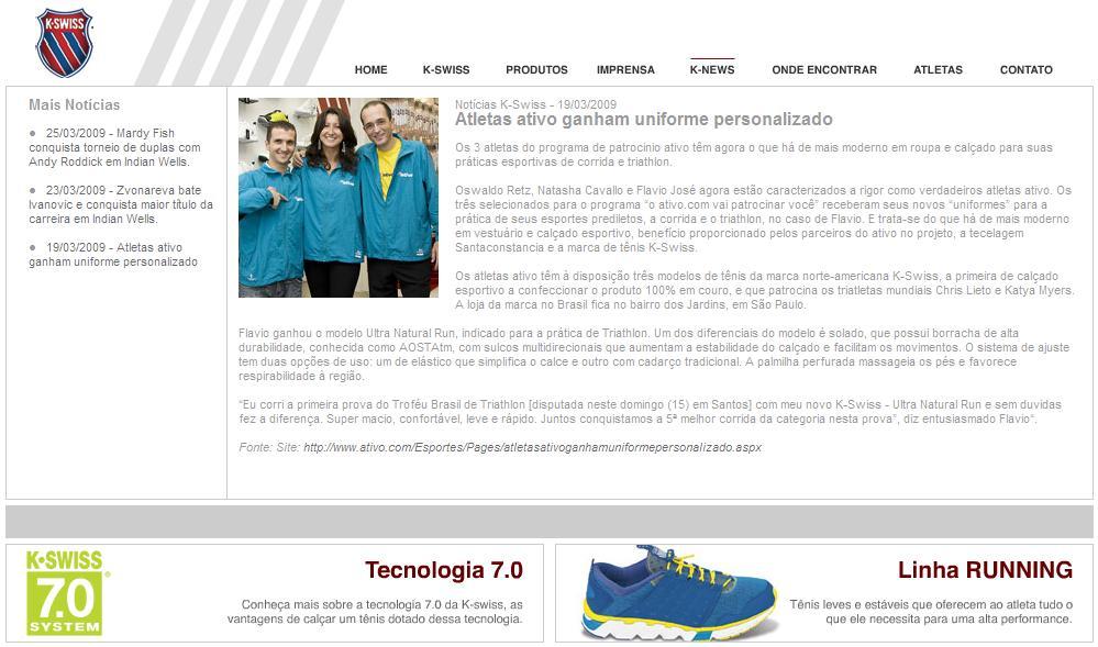 Atletas Ativo no Site Oficial da K-Swiss