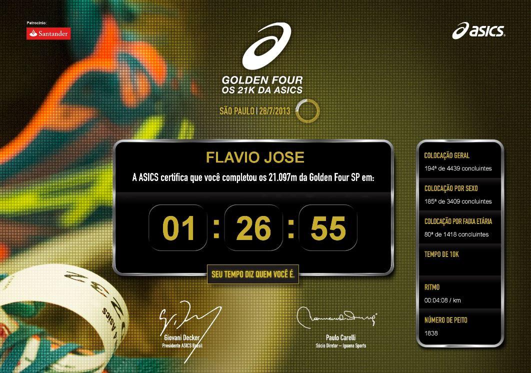 Resultado Flavio Jose na Golden Four