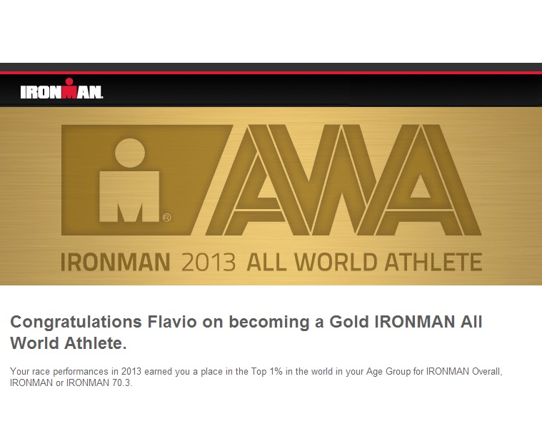 Flavio Jose Gold IRONMAN 2013 ALL World Athlete